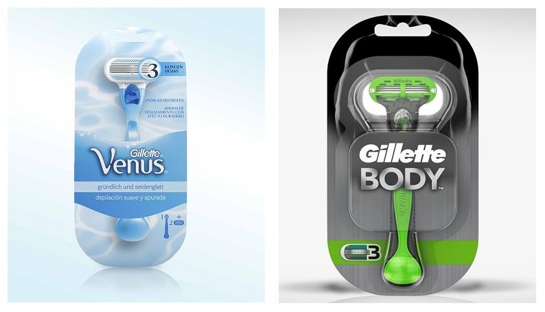 Bild zweier Rasierer: Gillette Venus (Frauen Rasierer) und Gillette Body (Männer Rasierer)