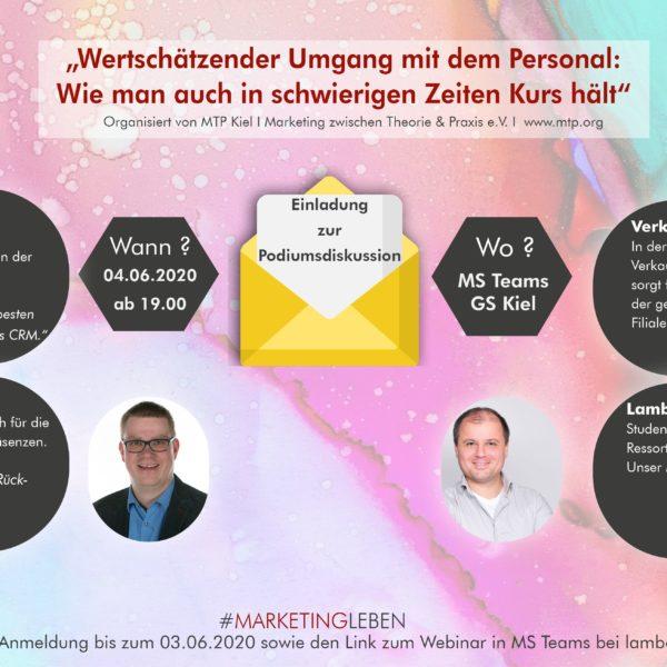 Einladung zur Podiumsdiskussion MTP Kiel