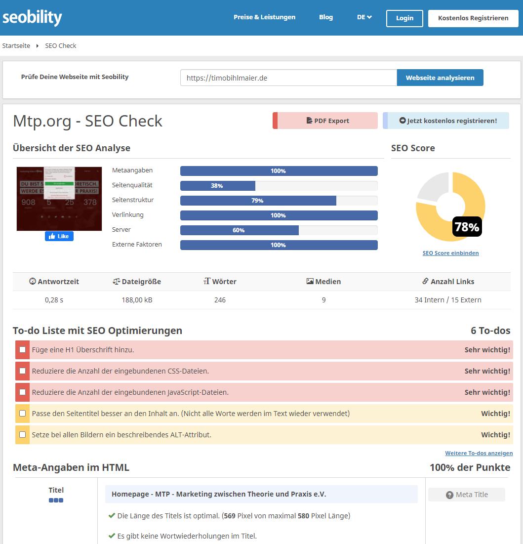 SEO Check von www.mtp.org mit Seobility